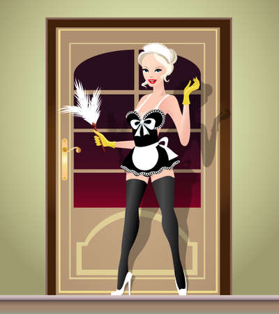 Sexy Young woman in french maid suite with  feather duster stay against door.