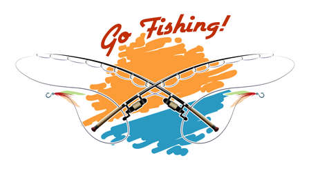 Poster with two rods and wording Go Fishing. Colorful illustration.