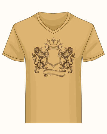 fame: V-neck shirt  with print template. Coat of fame with crown and lions drawn in engraving style.