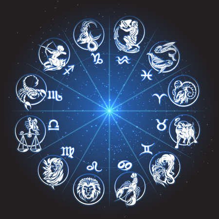 Horoscope Zodiac circle. Signs of Fish pisces scorpio aquarius aries virgo lion etc against night sky with stars.