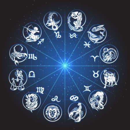 Horoskop-Tierkreis-Kreis. Zeichen der Fische Fische Skorpion Wassermann Widder virgo Löwe etc gegen Nachthimmel mit Sternen. Vektorgrafik