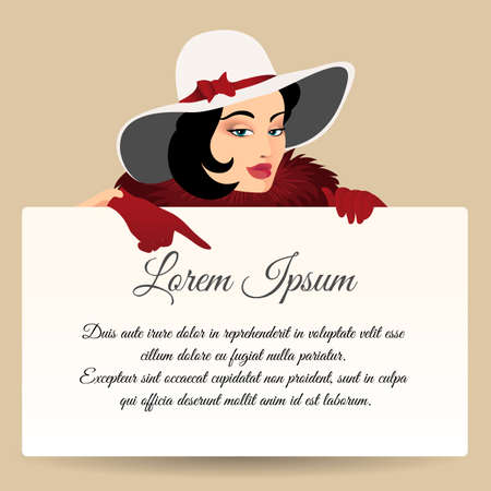 Beautiful brunette woman pointing finger on banner with sample text. Retro illustration.