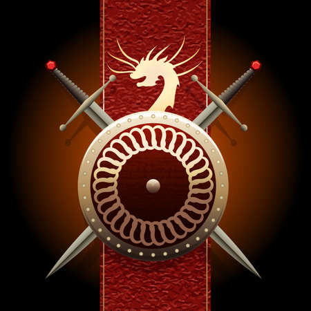 medieval banner: Shield woth swords against medieval banner flag with symbol of a dragon Stock Photo