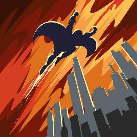 Superhero flying in the sky over night city. Retro Poster style. Stock Illustratie