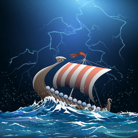 galley: Drakkar or viking warship floating in the stormy sea by midnight. Stock Photo