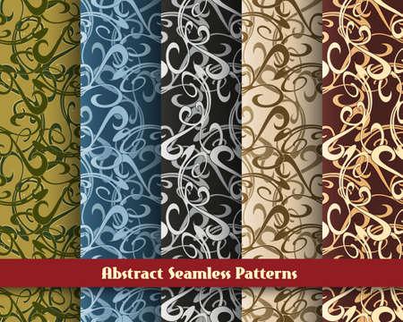 Set of five seamless abstract swirl patterns. Illustration