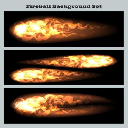Set of fireballs or flying flame tips on black background.