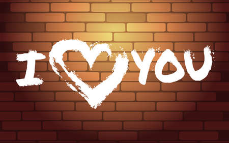 Writing on the brick wall I LOVE YOU  in brush paint style Illustration