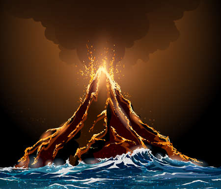 natural forces: Eruption volcano island in the ocean. Lava flowing from the mountain against pillar of smoke. Illustration