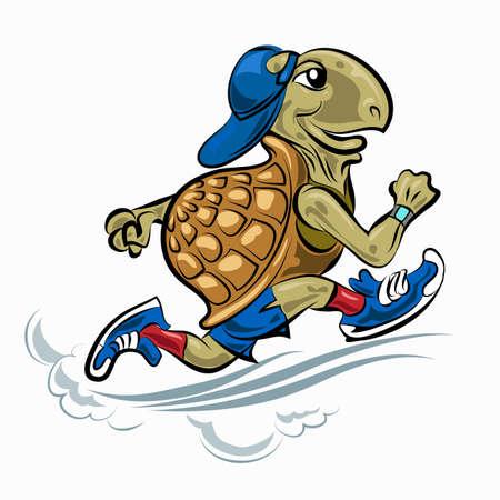 Hardlopen Schildpad in sportieve schoenen en hoed. Illustratie in cartoon-stijl