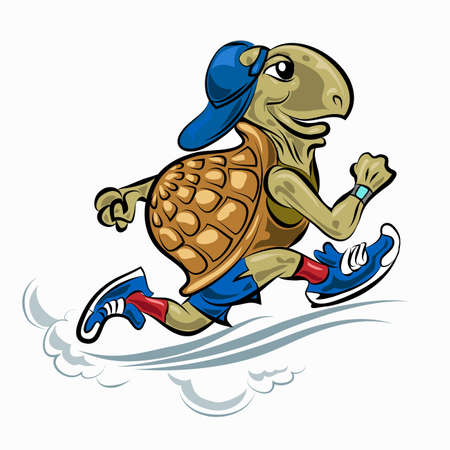 Running Turtle in sporting shoes and hat. Illustration in cartoon style