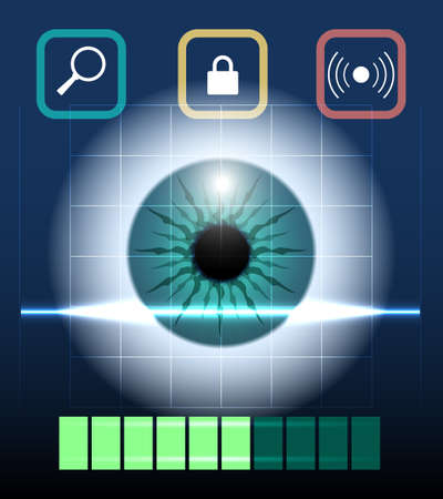 verification: Eye retina scan emblem. Virtual verification identity concept, scanning biometry, modern contemporary technology  illustration Illustration