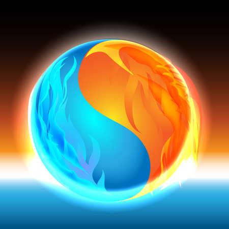 yin y yan: Resplandeciente esfera Zen con elementos de hielo y fuego como símbolo de un Yin Yang. Vectores