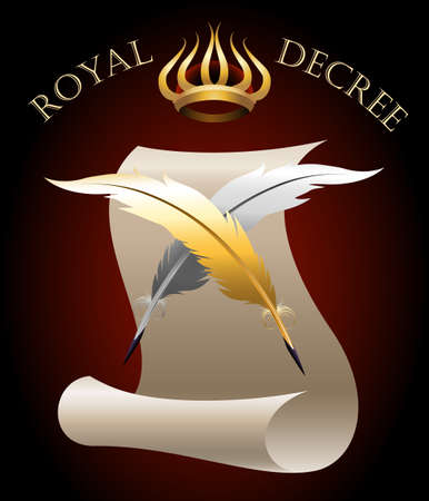 decree: Two quill pens against paper roll and Crown of King.
