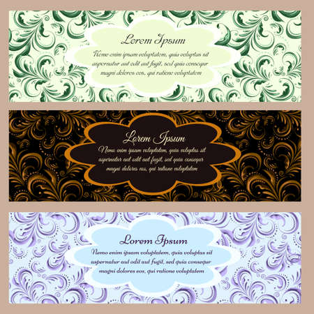 Vintage floral banners with text samples on seamless backgrounds. Illustration