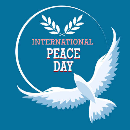 International Day of Peace Emblem. Greeting card with Flying Dove and wording on blue background.
