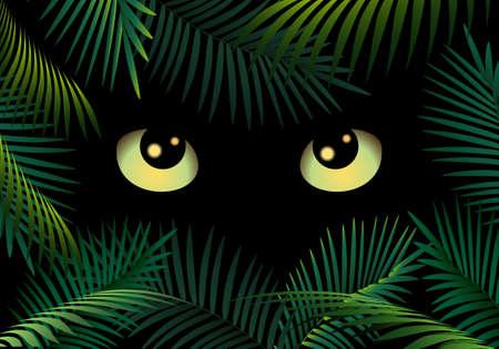 Wild Cat eyes in dark night forest. Illustration