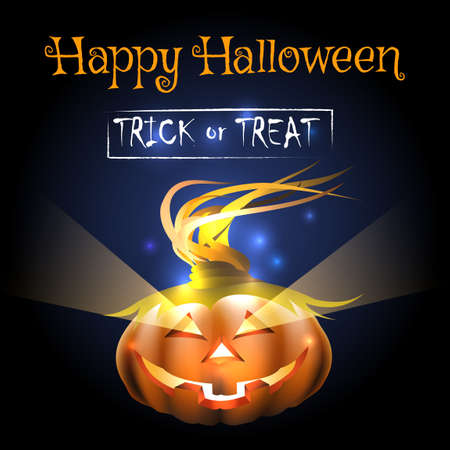 Happy Halloween Illustration of a Pumpkin and wording Written Trick or Treat.