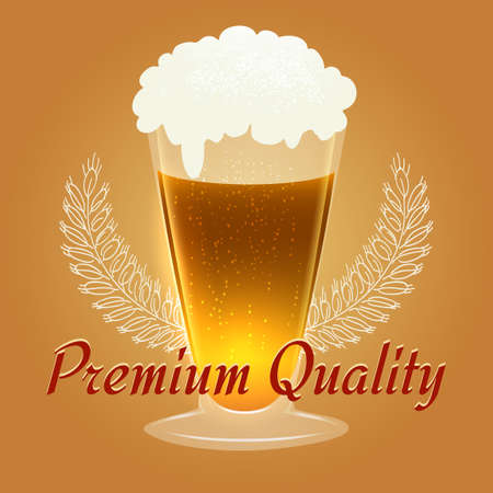 Glass of beer with barley wings and wording Premium Quality.