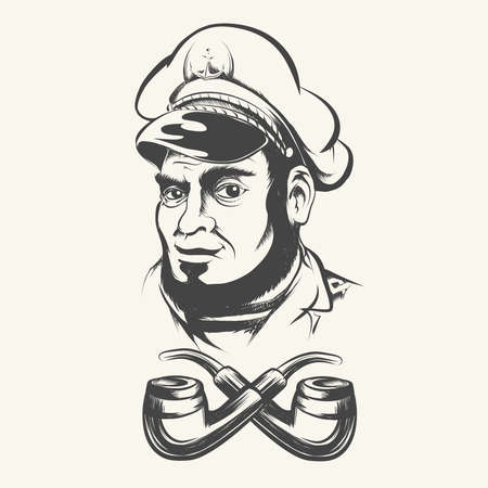 Sea captain, shipmaster, skipper, mariner wearing hat cap and two smoke pipes. Illustration in retro style.