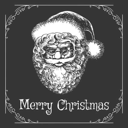 Christmas Card with Santa Claus Head and wording Merry Christmas. Vector illustration in engraving style.