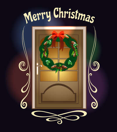 Christmas front door with Welcome wreath and wording Merry Christmas.