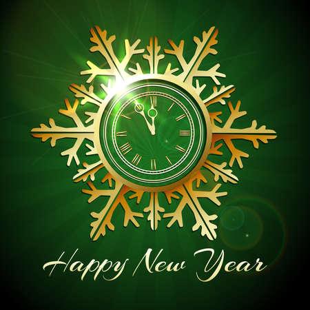 Shiny snowflake shaped New Year Clock against green background. Vector illustration. Illustration