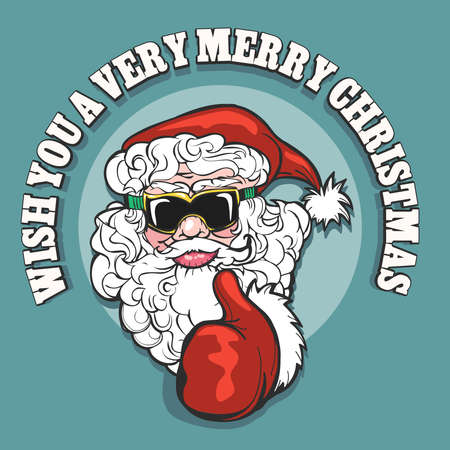 Cheerful Santa Claus in snowboarding glasses show thumb up gesture against wording Wish You a Very Merry Christmas. Vector illustration.