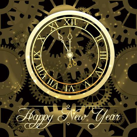 shiny New Year golden Clock.