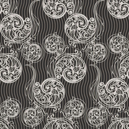 Seamless floral pattern. Swirls and curves.