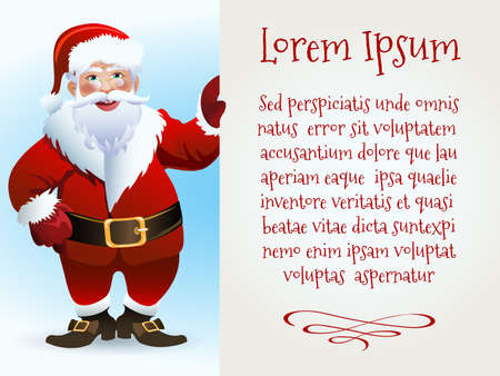 Santa Claus Character holds board with Sampe text in Blank Space.