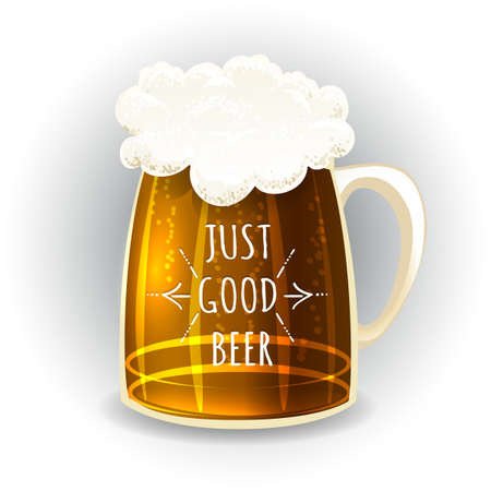 beer mug in cartoon style slogan. Craft Brewery emblem element. Vector illustration. Illustration