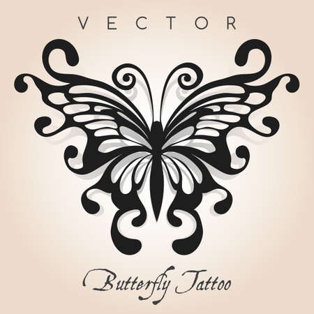 Fantasy butterfly in tattoo style. Vector illustration.