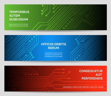 Electronics web banner set. Circuit board vector background technology concept illustration.
