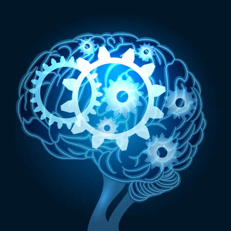 Human brain with gears inside. Thinking process concept. Vector illustration