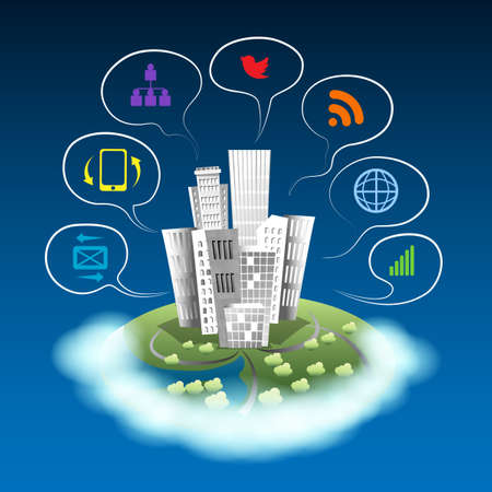 City on a cloud with communication icons. Urban area social networking devices.