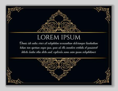 Vintage golden frame. Decorative vector frame with eastern elements and text sample over black background. Illustration