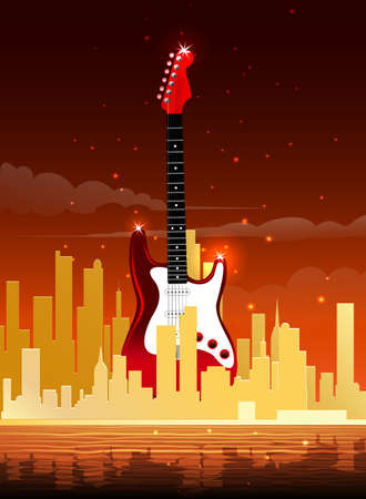 Event or music fest poster template with electric guitar against sundown in a modern city. Illustration.