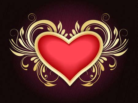 Golden heart and floral swirls. Valentines day or Wedding decor element. Illustration.