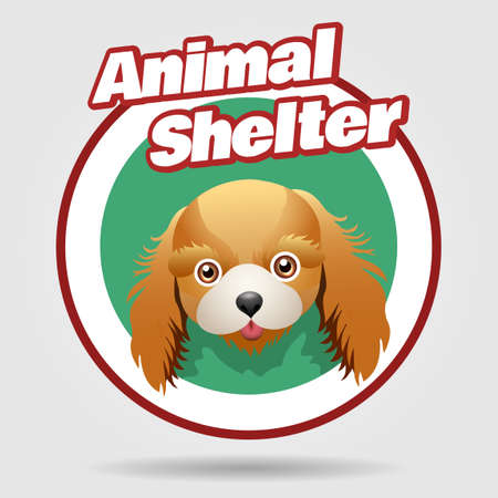 Animal shelter emblem with puppy face. Animal rights protection concept. Hotel for dogs badge. Vector illustration Isolated on white background.