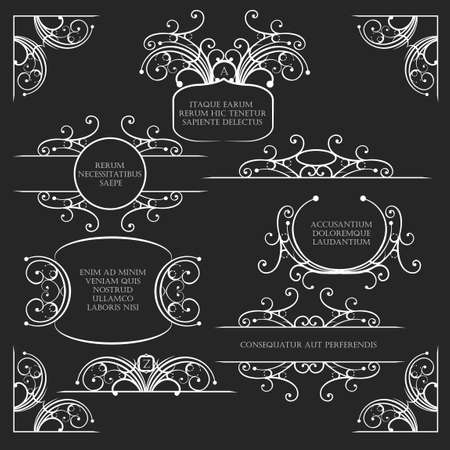 Set of calligraphic design elements and page decoration. Frames corners and dividers in vintage style with text samples.