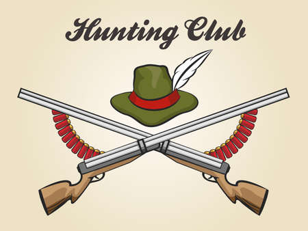illustratio: Hunting club emblem with hunting rifles catridges and hunter hat. Vector illustratio in vintage style.