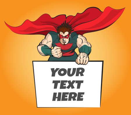 Superhero with Message Board Illustration
