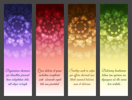 Abstract Vector Banner or brochure template set. Heart shape pattern with text samples on various background.