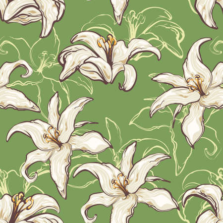 Seamless vector floral pattern. Lilies flowers on a green background.