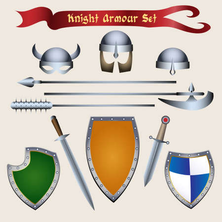 Medieval Tournament accessories and knight armour elements. Vector illustration in cartoon style.