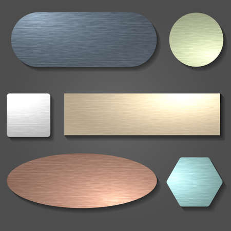 Brushed metal textures set. Brushed surfaces in various shapes.Vector illustration