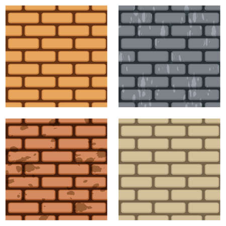 Brick wall pattern collection. Four seamless brick wall vector patterns.