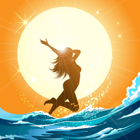 Beautiful young girls running in the sea. Summertime or vacation poster design element