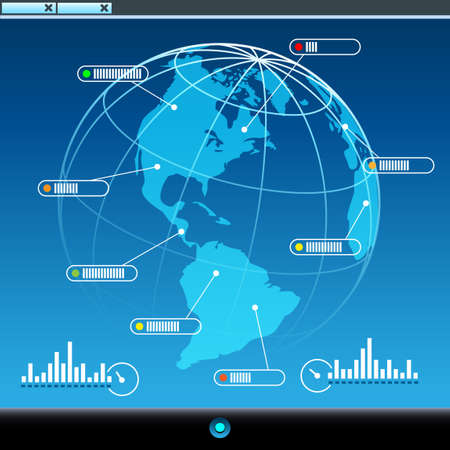 Computer Screen with earth globe and net connection signs. Global communication concept.